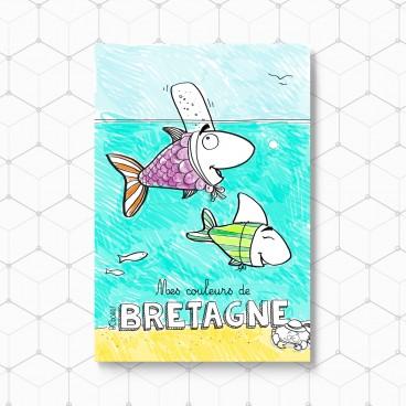 Carte postale Poisson-Bigoudène à colorier