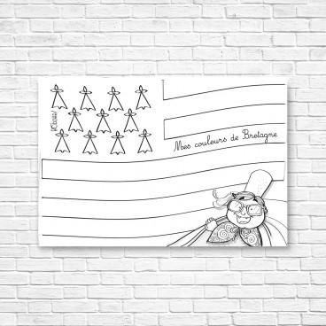 Carte postale drapeau breton à colorier