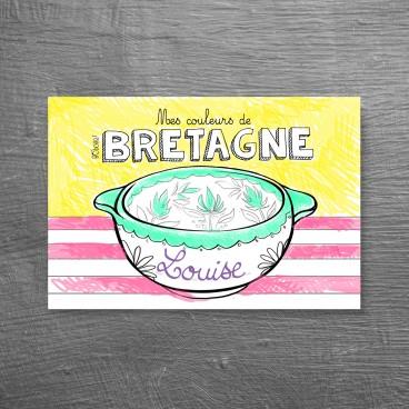 Carte postale bol breton à colorier