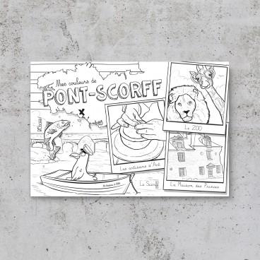 Carte postale à colorier Pont-Scorff