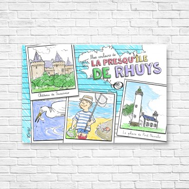 Carte postale à colorier de la Presqu'Île de Rhuys