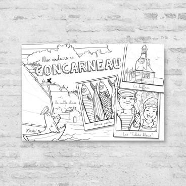 Carte postale de Concarneau à colorier