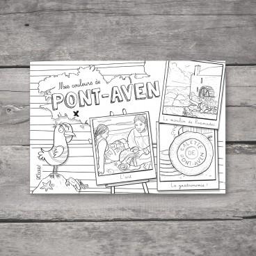Carte postale Pont-Aven à colorier