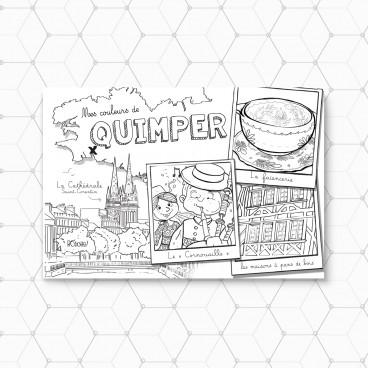 Carte postale Quimper à colorier