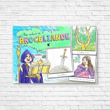Carte postale Brocéliande à colorier pour les garçons