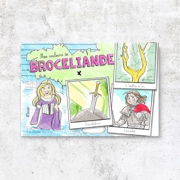 Carte postale Brocéliande à colorier pour les filles