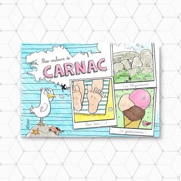 Carte postale Carnac à colorier