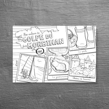 Carte postale à colorier Golfe du Morbihan
