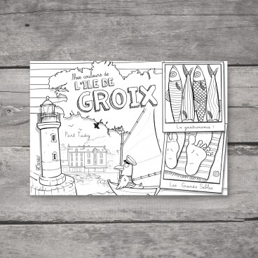 Carte à colorier de l'Île de Groix