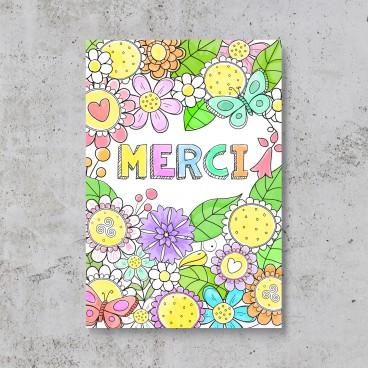 Carte à colorier de remerciement