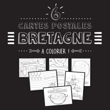Lot de 6 cartes postales Bretagne