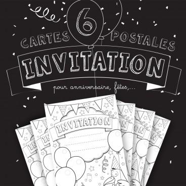 Lot de 6 cartes d'invitation