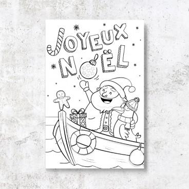 Carte à colorier Papa Noël