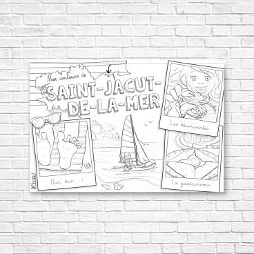 Carte postale Saint-Jacut-de-la-Mer à colorier