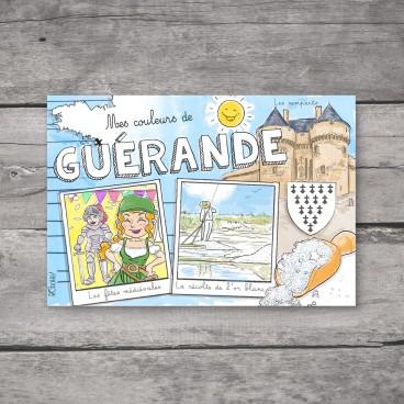 Carte postale Guérande à colorier