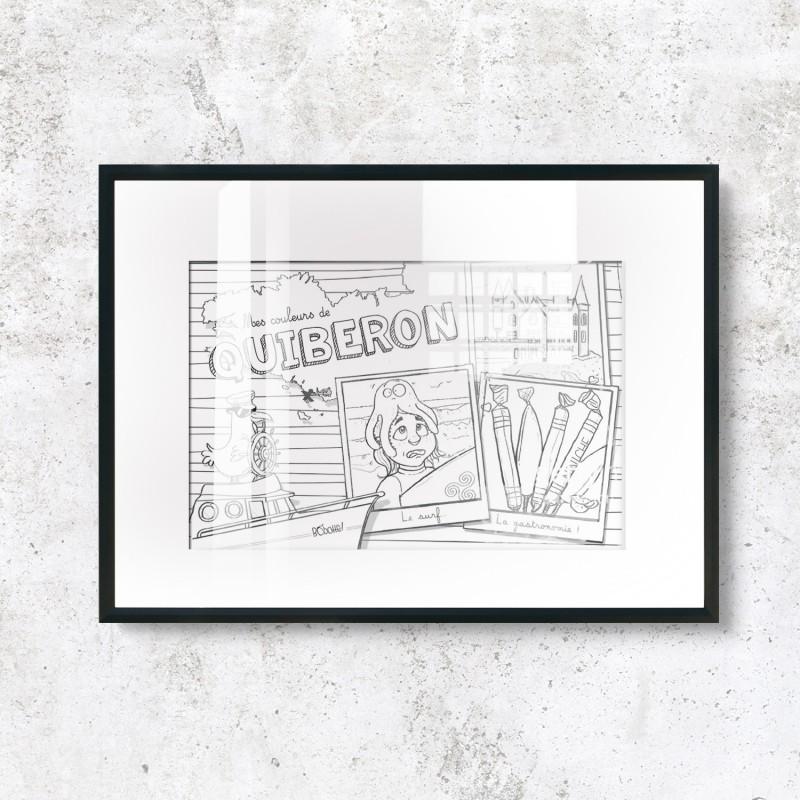 Carte postale à colorier - Quiberon - Design Bobotte!