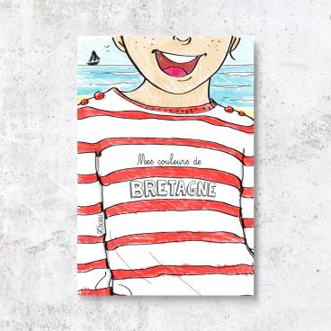 Carte postale marinière à colorier