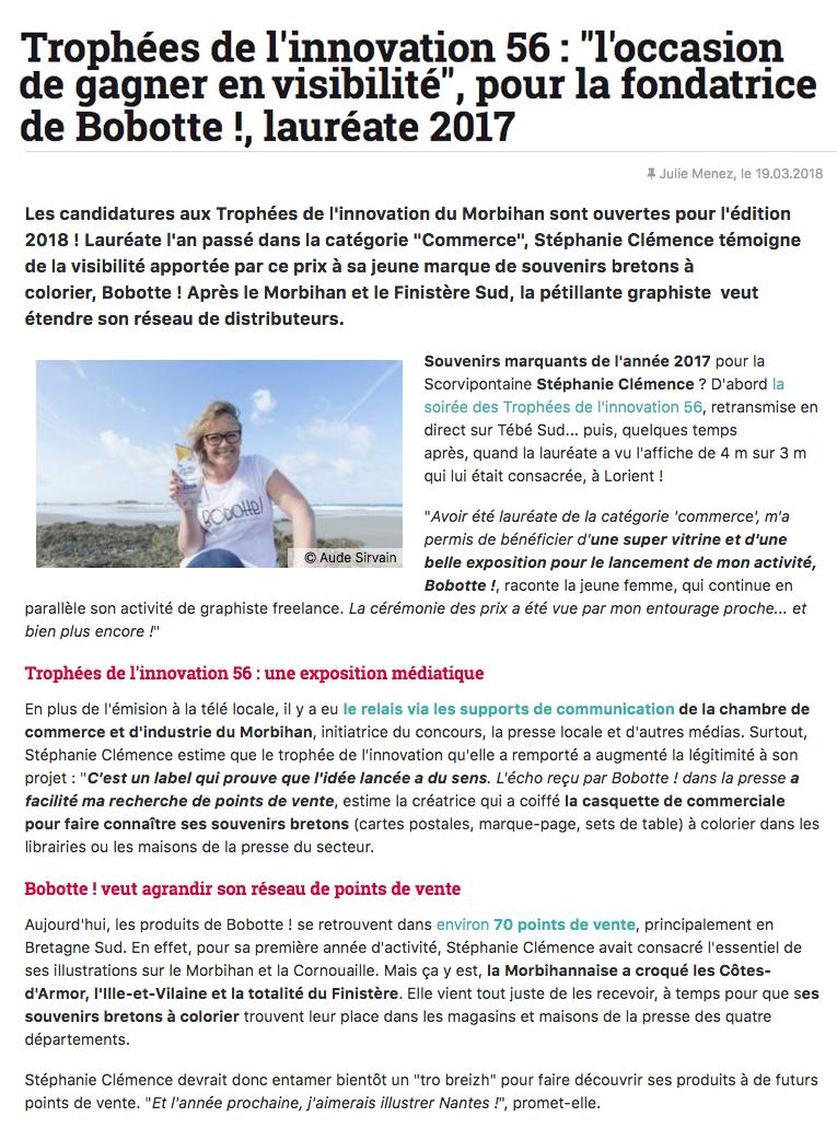 Article Bretagne Economique retombées
