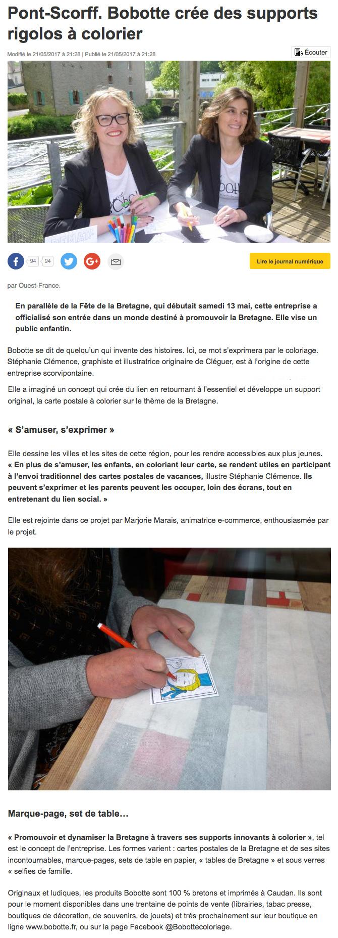 Article Ouest-France pour la journée de lancement